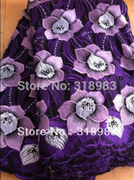 Wholesale Pre sale Purple High quality wedding lace African Fabric Yards Cotton Swiss Voile Lace NB0188a