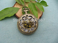 Wholesale big brass antique bike pocket watch bike jewelry animal necklace Wedding Gift steampunk vine style