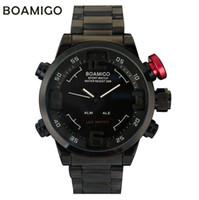 Wholesale BOAMIGO Analog Digital LED Stainless Steel Red Date Day Alarm Men s Sports Quartz Wrist Army Military Watch relogio masculino