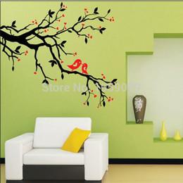 Купить Онлайн Цветковые деревья-2015, новые стены цветы и деревья Любовь Сердце Дерево Птица Съемный стены винила стикера Art Mural Home Decor