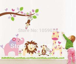 2015,Christmas gift Zoo Elephant Lion Monkey Cartoon Wall Sticker PVC Children Room Decoration Removable 10052w