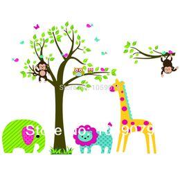Christmas gift Tree Animals Lion Giraffe Monkey Owl Cartoon Wall Sticker PVC Children Room Decoration 5071g