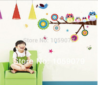 Wholesale 2015 Wall Stickers Christmas gift Owl Cartoon Wall Sticker PVC Children room Home Decor Art Waterproof Removable g