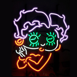 Wholesale betty boop neon sign real glass tube display beer bar handicraft signs light CLUB store