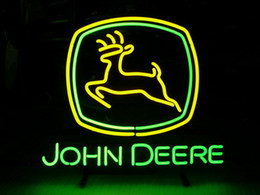 Wholesale JOHN DEERE neon sign store display beer bar signs Real galss tube metal framed Neon quot