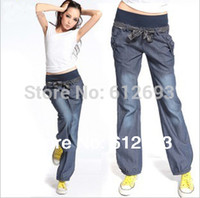 Wholesale Fashion new bloomers wide leg pants elastic waist bow trousers for women loose denim pants