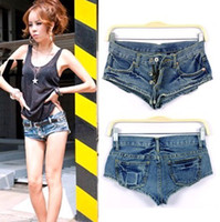 Wholesale hot sexy temptation sexy low waist ultra short jeans shorts for women