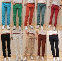 designer casual jeans - New Arrival Men Designer Brand Straight Pants Fashion Casual Slim Custom Fit Candy Skinny Denim Pencil Jeans H0290