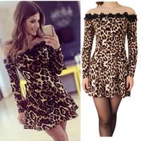 leopard print mini dress - New Sexy Women Mini Dress Leopard Print Embroidery Gauze Stitching Clubwear Skater Slim Dress Brown Vestidos Festa G0719