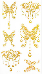 Wholesale 10 cm Butterfly Design Women Leg arm hand body Gold Tattoo Stickers Waterproof Temporary Glitter Tattoo Sticker
