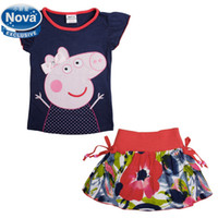 Cheap Wholesale-girl's clothing set new 2014 Nova baby & kids clothing printed lovely peppa pig short t shirt and foral skirt casual set