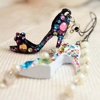 Wholesale Colors Crystal Rhinestone High Heels Shoe Keychain Phone Bag MP3 Charm
