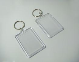 "Wholesale-50pcs Bigger Blank Acrylic Rectangle Photo Keychains Insert Picture &Logo Keyrings Key tag 2.25""x 1.65"" - Free"