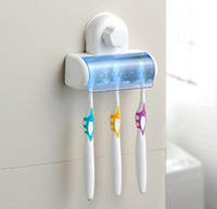 Wholesale Sections Elegant Designs Toothbrush Holder sucker suction Clean Neat bathroom bath care Spin Brush Stand Rack Plastic Set