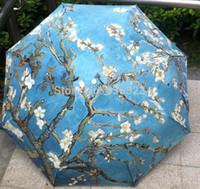 flower umbrella - New Abstract Oil Painting Arts Umbrella Creative Van Gogh Apricot Flowers Umbrella Rain Women Anti UV Decorative Umbrella