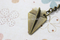 Wholesale Retro bronze paper airplane keychain charm keychain unique gift the best gift for a friend