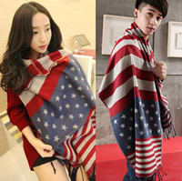 american flag shawl - New Autumn Winter Thick Faux Cashmere Scarf Pentacle Star American Flag Scarves Shawl Dual Long Unidex Scarf