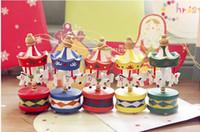 Wholesale 6pcs Christmas Mini XMAS tree pendant Beautiful wooden carousel Christmas ornaments More Than TNT