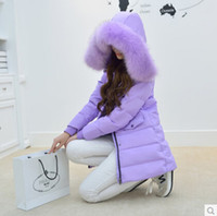 Wholesale winter parkas women real raccoon fur collar hooded thickening plus size duck down jacket medium long slim wadded casual overcoat