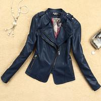 Wholesale Women leather jacket washed PU Epaulet long sleeve coat leather motorcycle jacket for women size S XL black navy red XX545