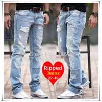 men color jeans - New Fashion Ripped Jeans Blue Color Size Sexy Distrressed Denim Trousers With Holes For Men Boys JM09538