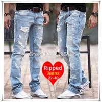Mens light blue destroyed jeans