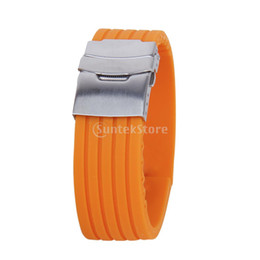 New 2015 Brand New Orange Rubber Watch Strap Band Deployment Buckle Waterproof 22mm Free Shipping