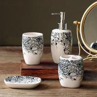Wholesale rushed sale banheiro bathroom accessories set zeebrugge birds trees silhouette and ceramic bathroom set accessories