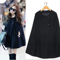 Wholesale Casual Womens Cape Black Batwing Wool Poncho Jacket Lady Winter Warm Cloak Coat
