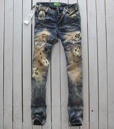 Wholesale new arrival men s fashion retro fashion designer straight denim jeans Slim trousers colored jeans