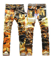 paintings mary - Jeans men colored drawing jeans slim elastic pants size W27 to W40 skinny personalized icon holy Mary print painted denim jeans