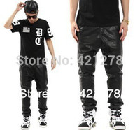 Wholesale men s faux leather pants fashion kanye style slim motorcycle hip hop PU trousers casual jogger pant