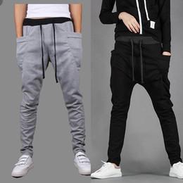 Wholesale Crotch Man - Wholesale-Baggy Tapered Bandana Pants Hip Hop Dance Drop Crotch Harem Sweatpants men Parkour Sport Track Trousers Brand Outdoor Joggers