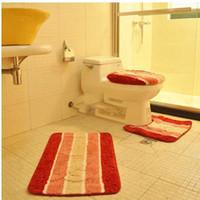Cheap Wholesale-Thickening super soft toilet lid set toilet seats three piece set potty pad door mat cover slip-resistant floor carpet bath rug