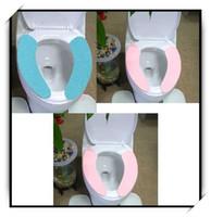 Cheap Wholesale-1pair pack,2packs lot Creative Washable Soft Toilet Mat Convenient Toilet Seat Cleaning Pad Seat Cover(DM-108)