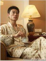 Cheap Pajama Sets Mens Pajamas Sleepwear Best 100% Silk V-Neck Shirt Pants Set