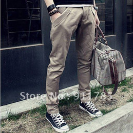 Wholesale-2014 new harem stylish pants men, small feet pants,casual slim fit cotton mens trousers, freeshipping,khaki,black,K23,28-33