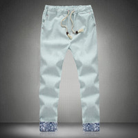 Wholesale Plus Size M XL spring and summer men s casual Linen pants Fashion Floral crimping Men tether Nine pants Trousers of man