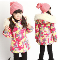 Wholesale winter new children s princess hooded padded quilted jacket Korean version of the thick camouflage jacket