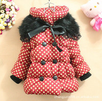 Cheap Wholesale-New 2013 free shipping retail polka dot double-breasted cotton-padded clothes and scarf for girls,children fur collars coats