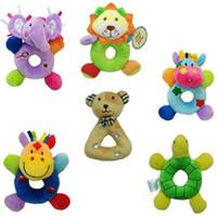 Wholesale Lovely Baby toys Animal model Hand bell Kid Plush toys lion elephant bear tortoise cattle deer