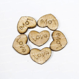 Wholesale-Love Heart Wood Loose Beads Charms Appointment Wedding Decoration 15*12mm Free Shipping 101Pcs Lot