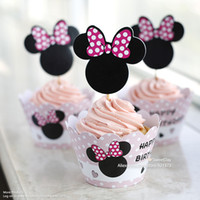 Wholesale Minnie Mouse cupcake wrappers cake cups picks toppers baby shower girl birthday party kids decorations supplies
