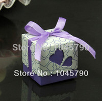 Wholesale X Lovely Square Purple Candy Box Hollow Heart White Cardboard Paper Wedding Boxes Gift Box Candy Box
