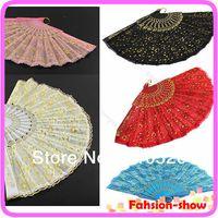 Wholesale W110 PC Golden Lace Flower Decor Spanish Hand Fan Wedding Dancing Hem Night Party Colors