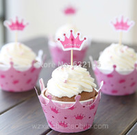 Wholesale pink princess crown cake toppers picks baby girl party birthday decorations supplies baby shower cupcake wrappers