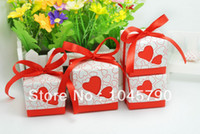 Wholesale X Lovely Square Red Candy Box Hollow Heart White Cardboard Paper Wedding Boxes Gift Box Candy Box
