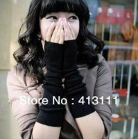 Wholesale lady sweet fathion warm mitten long gloves wrist cover arm cover Modified arm glove with exposed fingers gray black coffee