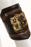 Wholesale RQ BL Unisex Steampunk arm band Faux leather gears band sp079