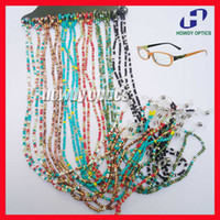 beaded eyeglass chain - KMD002 Colorful Beaded Pearl Sunglass Reading Glasses Eyeglass Chain Cord Rope Holder